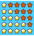 Yellow game rating stars icons buttons vector image