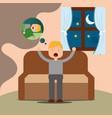 young man yawning thinking sleep sitting on sofa vector image