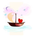 card with hearts floating on a boat vector image
