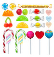 different sweets and candies from sugar realistic vector image