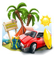 a cartoon green hill near the sea with red car vector image vector image