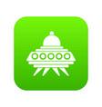 alien spaceship icon digital green vector image