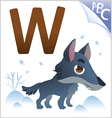 Animal alphabet for the kids W for the Wolf vector image