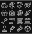 automotive car service icons set on black vector image vector image