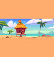 beach hut or bungalow on tropical island resort vector image vector image