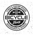bicycle round emblem in vintage style vector image vector image