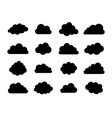 black cloud icons isolated on white vector image