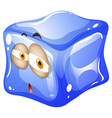 Blue ice cube with face vector image vector image