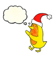 cartoon bird wearing xmas hat with thought bubble vector image vector image