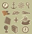 cartoon sea exploration icons vector image vector image
