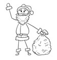 christmas santa claus with bag of gifts hand vector image