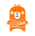 cute orange teddy bear standing funny lovely vector image vector image