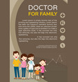 doctor woman and cute family background poster vector image vector image