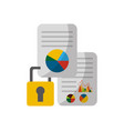 document with statistics graphic and padlock vector image