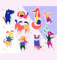 dog stickers collection vector image