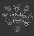 eco background with vegetables on chalkboard vector image