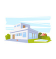 flat style modern architecture house with pool and vector image vector image