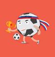 football cartoon character celebrating victory vector image