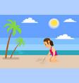 girl at beach drawing sailboat on sand near sea vector image vector image
