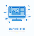graphics editor thin line icon vector image
