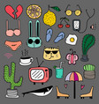 hand drawn doodle lovely colourful set vector image vector image