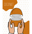 hands fresh coconut natural drawn image dotted vector image