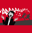 horror movie frightened people fear horror vector image