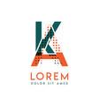 ka modern logo design with orange and green color vector image vector image