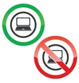 Laptop permission signs vector image vector image