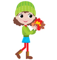little girl with autumn leaves vector image vector image