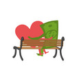 love and money sitting on bench selling love vector image vector image