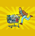 man on the sale of home appliances vector image vector image