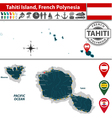 Map of Tahiti island vector image vector image