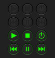 media buttons - inactive black buttons and active vector image