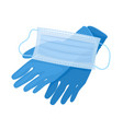 medical gloves and mask isolated on white vector image