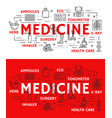 medical poster of thin line medicine symbol vector image vector image