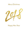 merry christmas 2018 happy new year golden vector image vector image