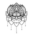outline of lotus with boho pattern element vector image vector image