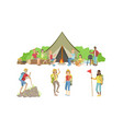 people characters having picnic and hiking vector image