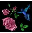 red rose and bird embroidery vector image vector image