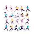 running people isolated vector image