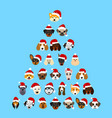 set different breeds dogs in hats santa vector image