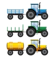 Set of farm tractors with wagons vector image vector image