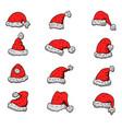 set santa claus hats christmas theme design vector image