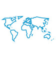 simplified blue thick outline of world map divided vector image vector image