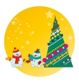 snowman and Christmas tree vector image