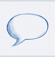 speech bubble chat blue symbol on lined paper vector image vector image