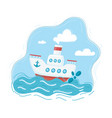 steamship sailboat in wave vector image vector image