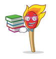 student with book match stick mascot cartoon vector image vector image