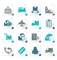 stylized cargo shipping and delivery icons vector image vector image